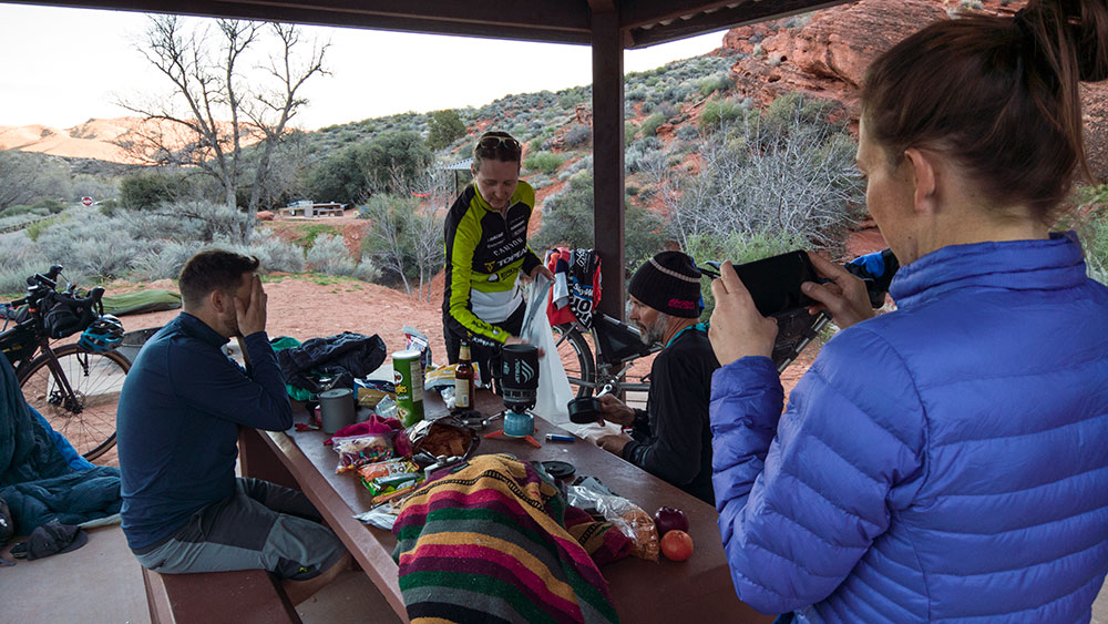 This is what a camp with 5 bikepackers in it looks like.