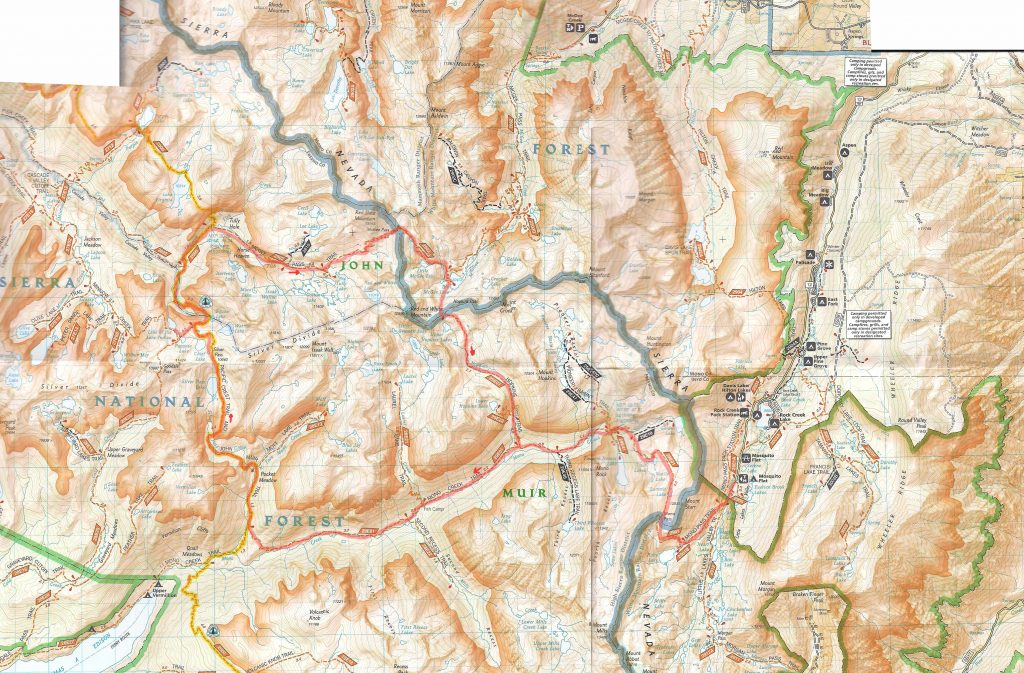 Sierra map with marked trail